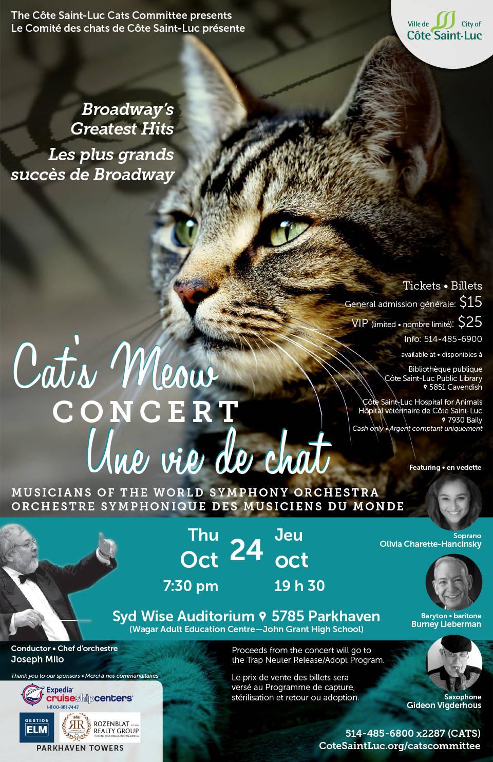 Concert une vie de chat le jeudi 24 octobre à 19 h 30. Billets : 514 485-5900