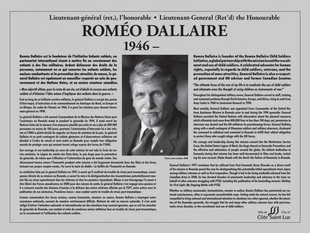 Plaque honouring Roméo Dallaire