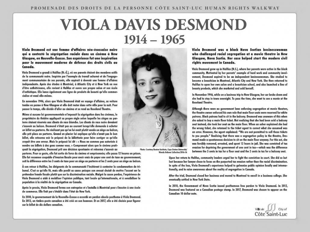 Plaque honouring Viola Davis Desmond