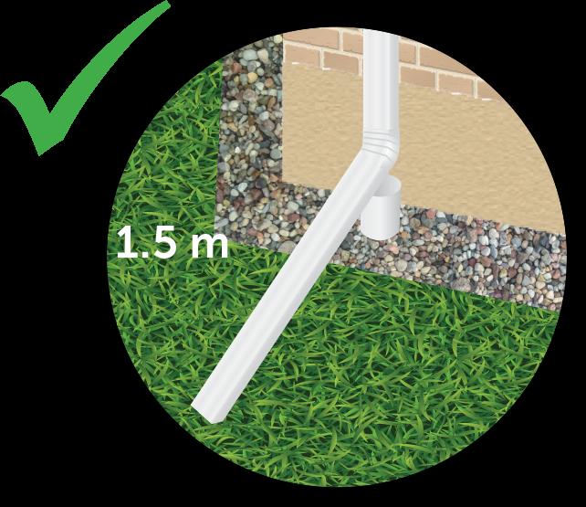 Gutter directing rainwater 1.5 m away,  into the grass